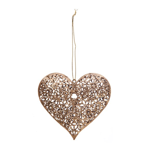 Gold Daisy Heart Hanging Decoration