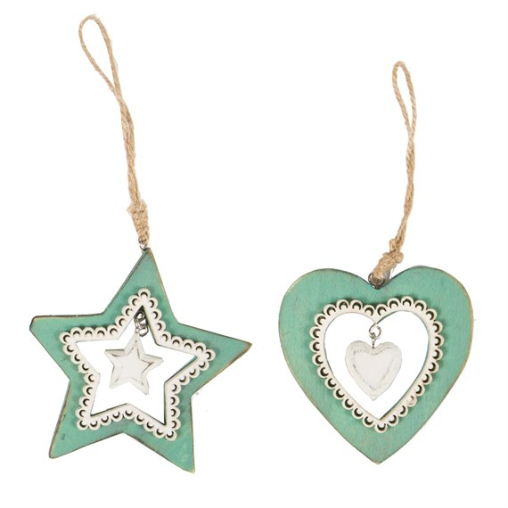 Teal White Lace Heart & Star Decoration Assorted