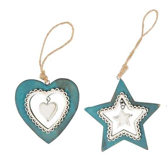 Blue White Lace Star & Heart Decoration Assorted