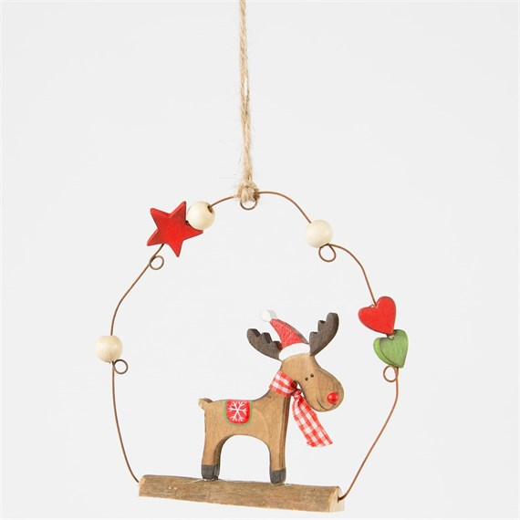 Whimsical Rudolf Reindeer Hanging Decoration