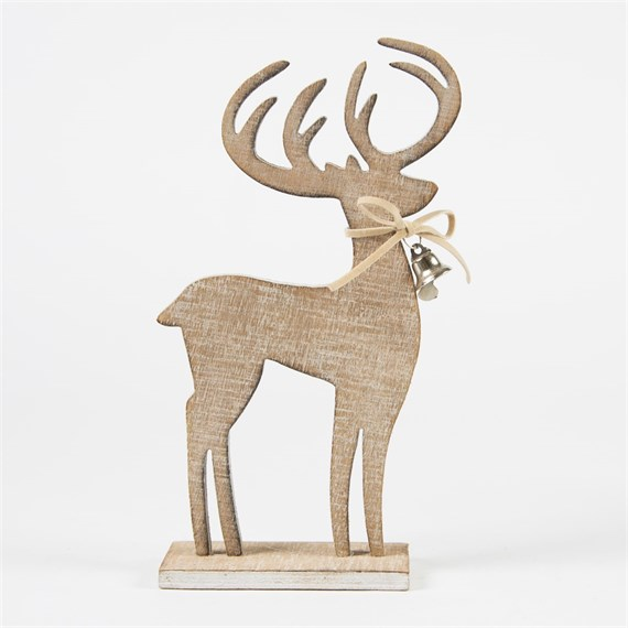 Rustic Reindeer with Bell Collar Decoration
