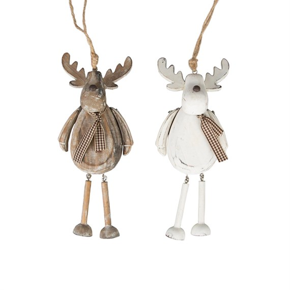 Rustic Reindeer Hanging Decoration Assorted