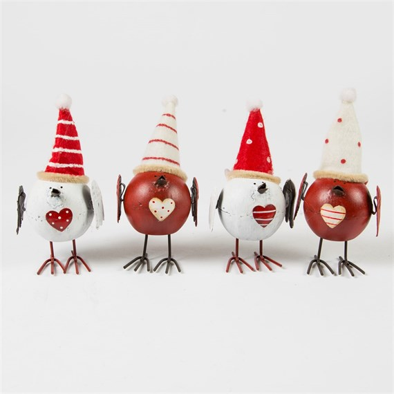 Cheerful Christmas Birds with Hats Decoration Assorted