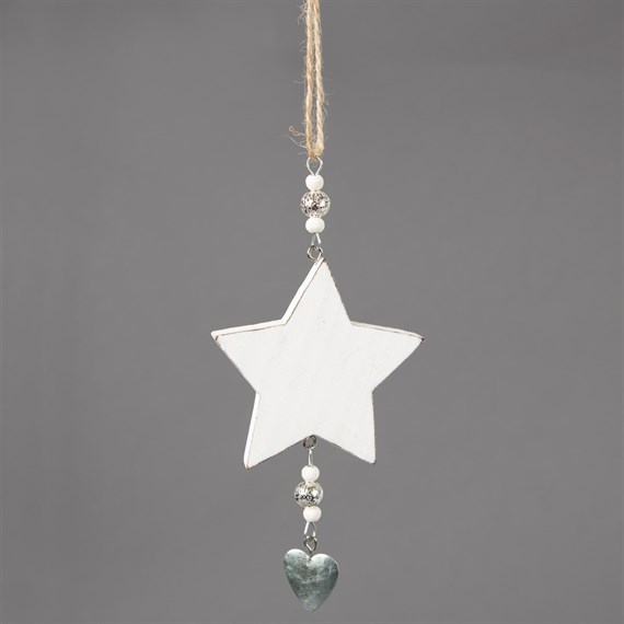 Little White Star with Heart Hanging Decoration