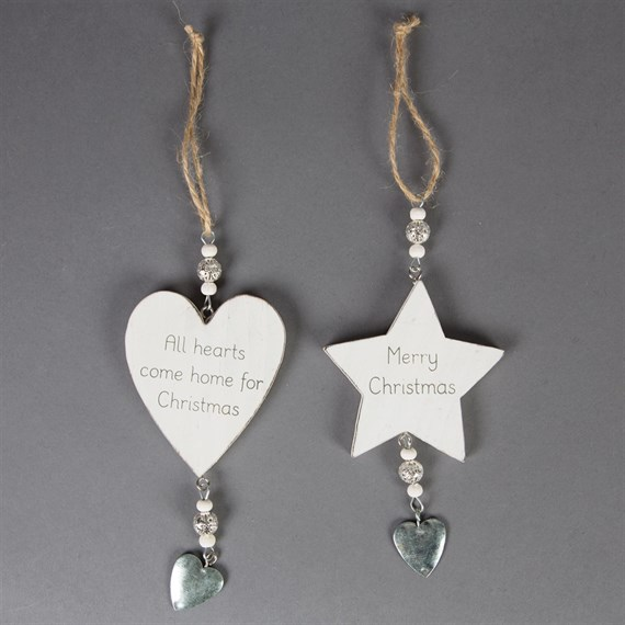 All Hearts Christmas Heart & Star Decoration Assorted