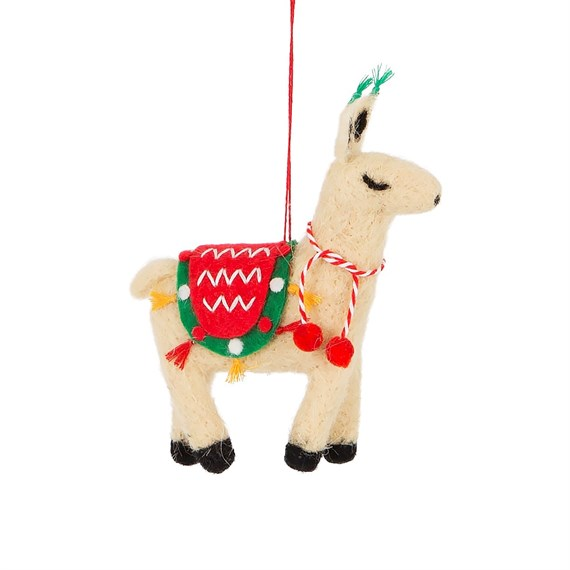 fa la la llama hanging felt decoration