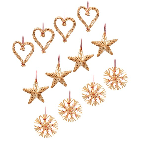 Straw Decorations - Set of 12