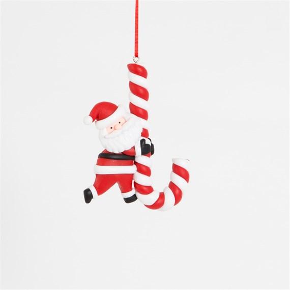Clay Giant Candy Cane Santa Decoration