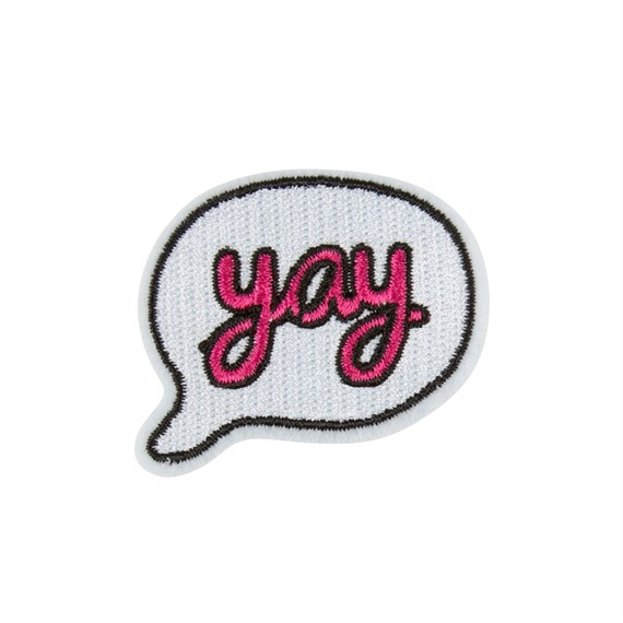 Pink Yay Speech Bubble Iron on Patch Accessory