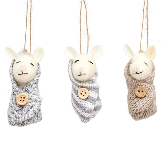 Baby Mice Felt Decoration Assorted