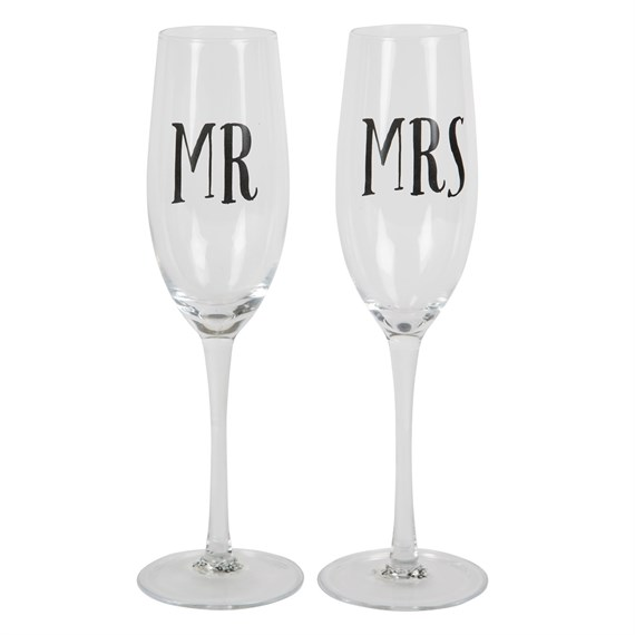 Mr & Mrs Champagne Glass Assorted
