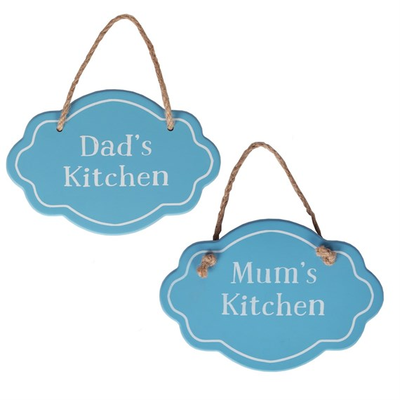 Mum Dad's Kitchen Fancy Oval Plaque Blue Assorted