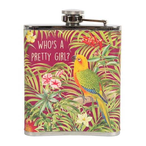 Parrot Paradise 'Who's a Pretty Girl?' Hip Flask