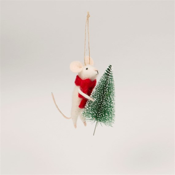 felt mouse with christmas tree decoration