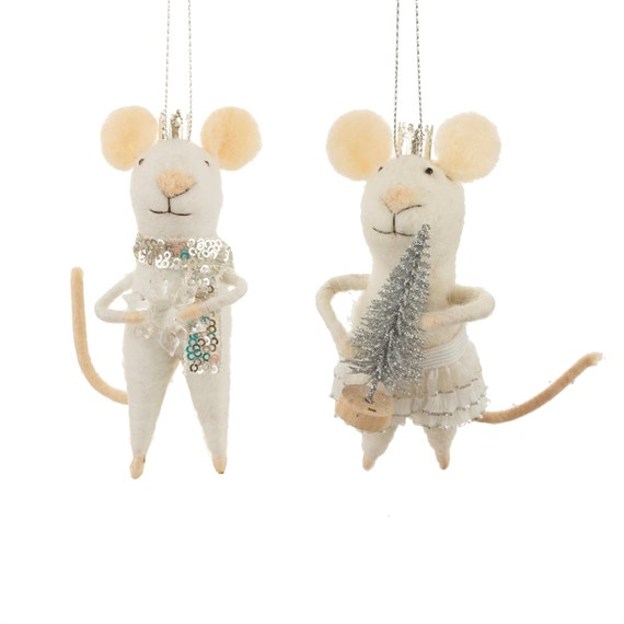 Wonderland King & Queen Mouse Hanging Decoration Assorted
