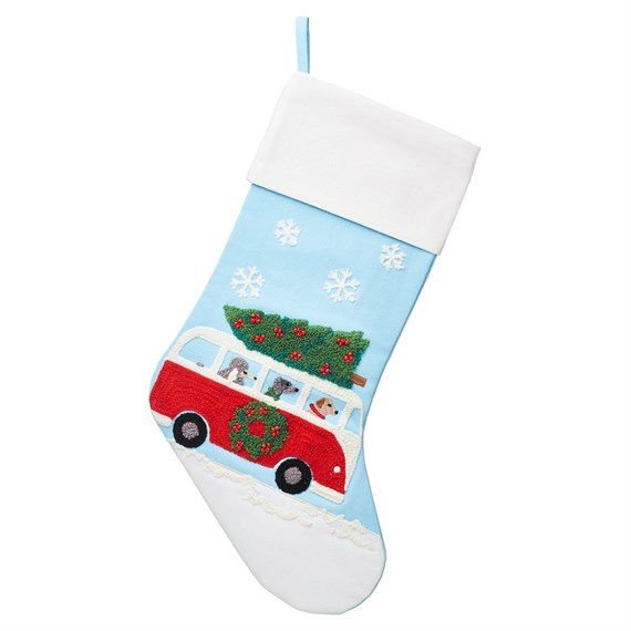 Dogs In Camper Van Embroidered Stocking
