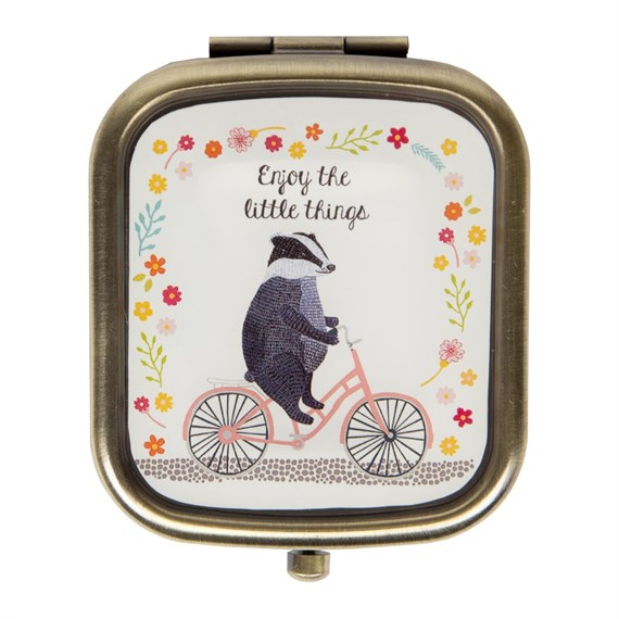 Enjoy the Little Things Badger on  Bike Compact Mirror