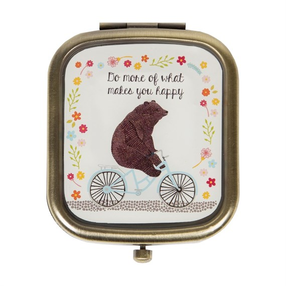 Do More of What Makes You Happy Bear on  Bike Compact Mirror