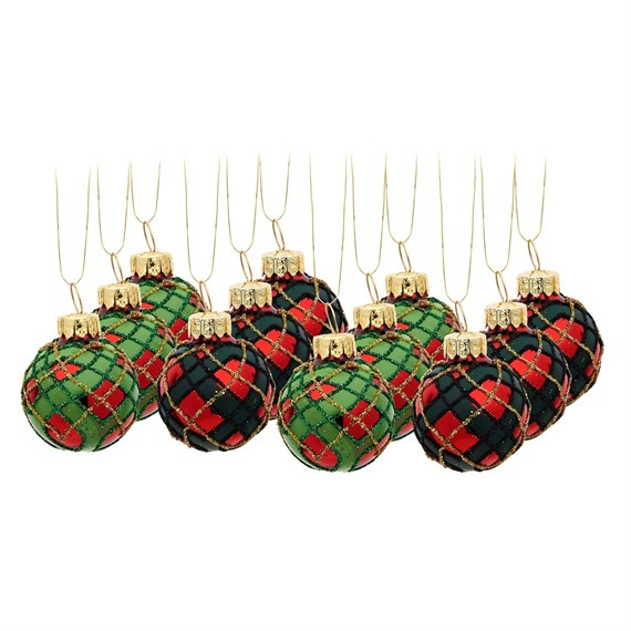Mini Tartan Baubles - Set of 12