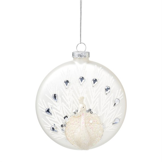 White Peacock Shaped Bauble