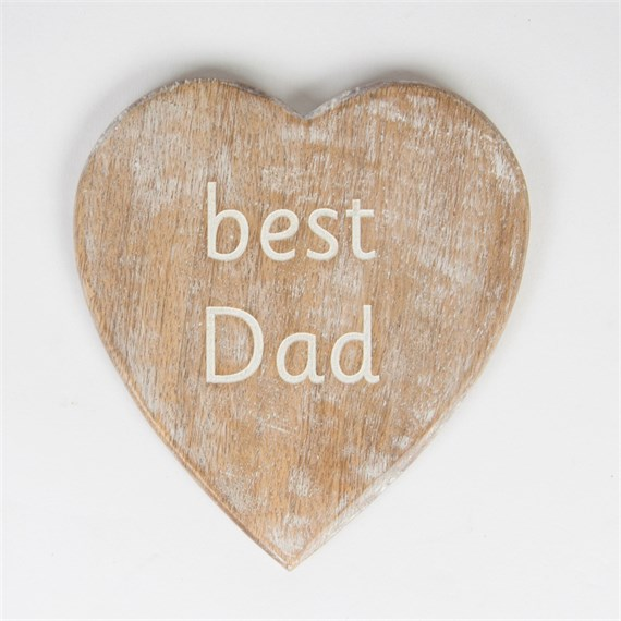 Carved Best Dad Heart Coaster