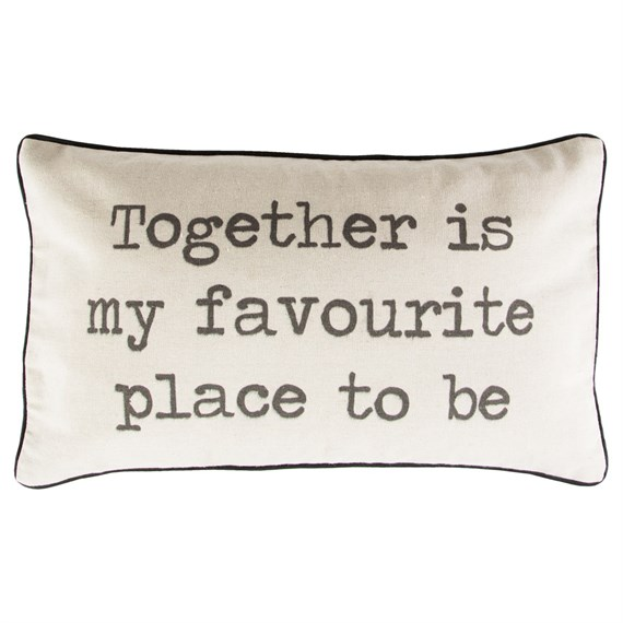 Together is My Favourite Place To Be Rustic Cushion with Inner