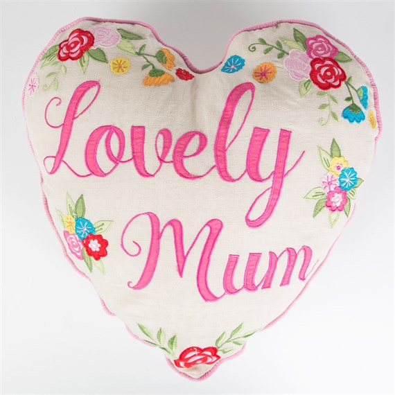 Lovely Mum Embroidered Cushion with Inner