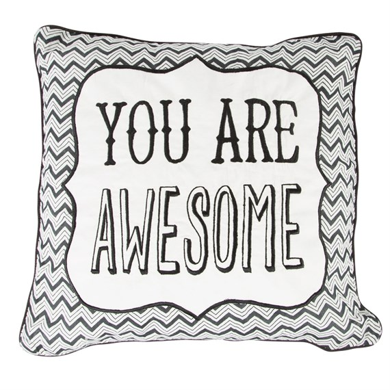 You Are Awesome Chevron Retro Cushion with Inner