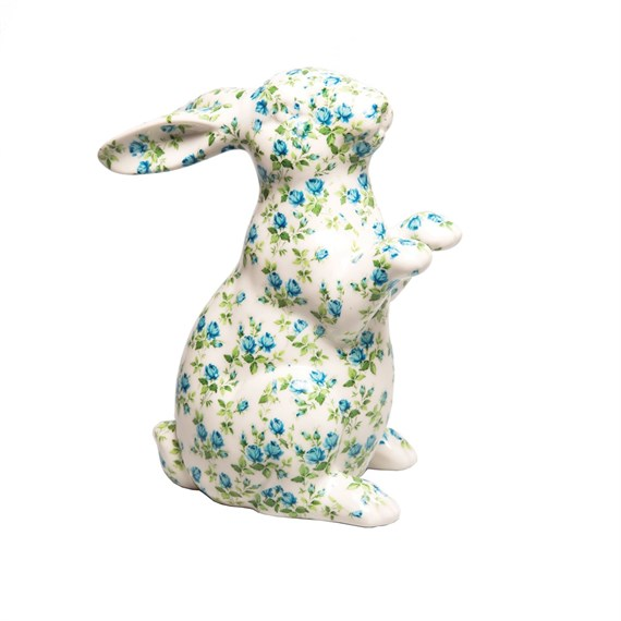 Blue Rose Bunny Money Box