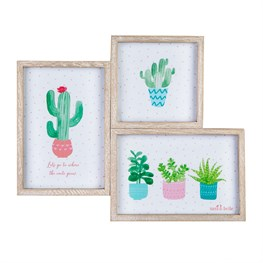 Three Pastel Cactus Wooden Multi Photo Frame