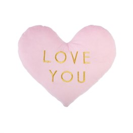 Love You Pastel Pink Heart Shaped Cushion