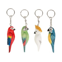 Parrot Paradise Carved Wood Keyring Assorted