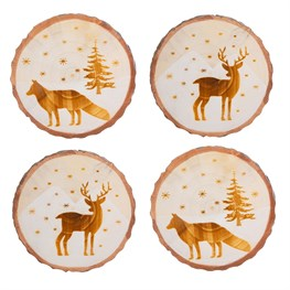 Woodland Animals Log Slice Coasters - Set of 4