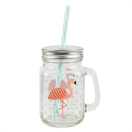 Tropical Flamingo Mason Drinking Jar