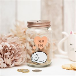 Cutie Cat Treat Fund Money Jar
