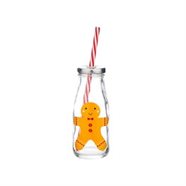 Gingerbread Man Mini Milk Bottle with Straw