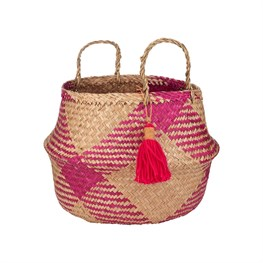Pink Tribal Tassel Basket
