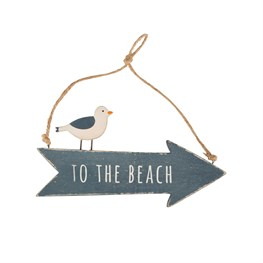 To The Beach Seagull Arrow Plaque