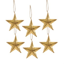 Set of 6 Gold Stars Hanging Decorations
