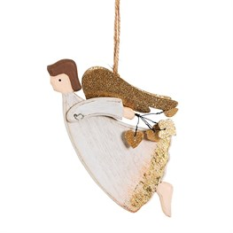 Soaring Angel with Hearts Hanging Decoration