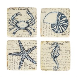 Set of 4 Vintage Sea Creature Coasters