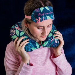 Variegated Leaves Travel Pillow And Eye Mask Set