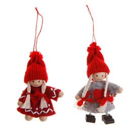 Felt Girl with Red Knit Hat Hanging Decoration Assorted