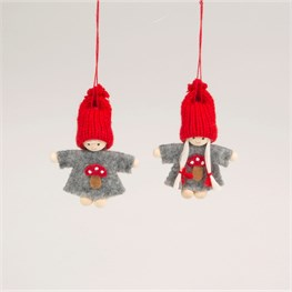 Pixie Doll Toadstool Hanging Decoration Assorted