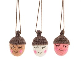 Set of 3 Happy Acorns Hanging Decorations