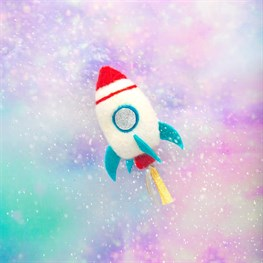 Outer Space Rocket Hanging Felt Decoration
