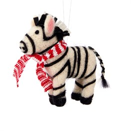 Jungle Fun Christmas Zebra Hanging Felt Decoration