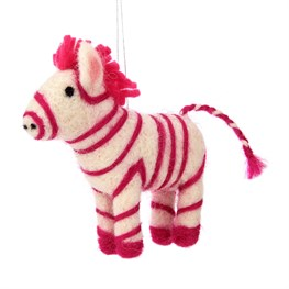 Wonderland Pink Zebra Hanging Felt Decoration