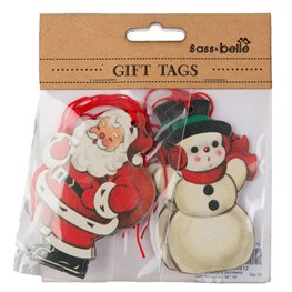 Set of 10 Retro Santa Snowman Gift Tags