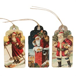 Set of 15 Retro Vintage Father Christmas Scene Gift Tags